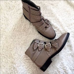 Amy Studded Buckle Leather Boots